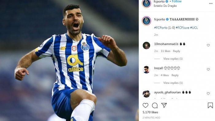 Ilustrasi Pemain FC Porto Mahdi Taremi menjebol gawang Juventus tatkala pertandingan baru berjalan dua menit. Kini ia masuk babak kedua tatkala Chelsea vs Porto masih 0-0