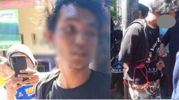 Pria pembakar mimbar masjid Raya Makassar ditangkap warga dan sempat diikat di tiang listrik sebelum diamankan kepolisian setempat.