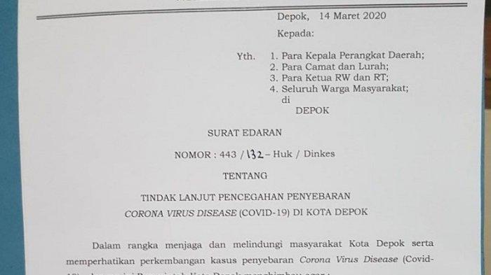 Pemerintah Kota Depok Keluarkan Surat Edaran Lockdown Antisipasi Penyebaran Virus Corona Warta Kota