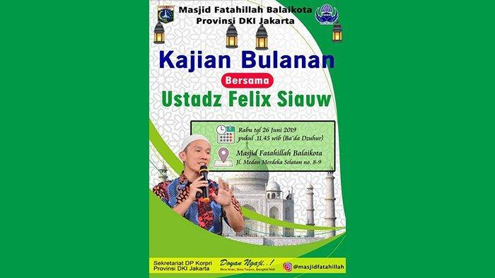 Usai Dikritik Warganet, Pemprov DKI Batal Undang Ustaz Felix Siuaw Ceramah di Masjid Balai Kota