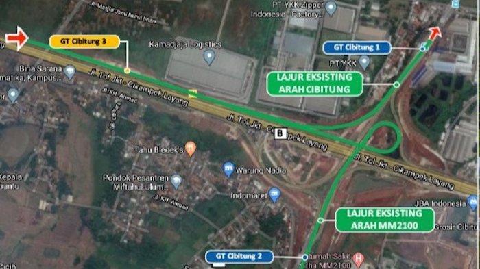Peta pengalihan transaksi Gerbang Tol (GT) Cibitung 1 dan GT Cibitung 2 existing ke GT Cibitung 3 di Tol Jakarta Cikampek.
