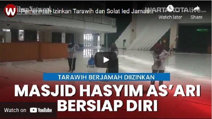 VIDEO Persiapan Masjid Raya Hasyim Asyari untuk Gelar Salat Tarawih dan Salat Ied Jamaah
