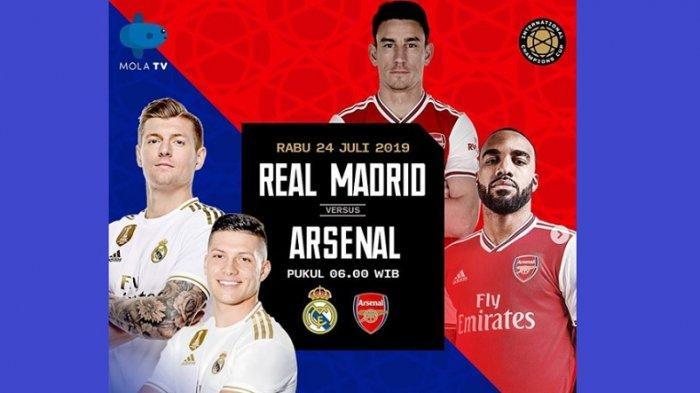 Live Streaming ICC 2019 Real Madrid Vs Arsenal Sedang Berlangsung, Aubameyang Cetak Gol