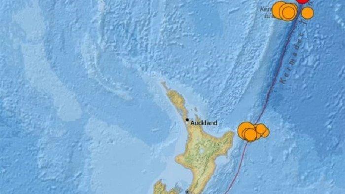 Peta gempa besar dan berpotensi Tsunami di Selandia Baru. Peringatan tsunami diberikan setelah gempa terkuat di dunia mengguncang lautan pasifik Selandia Baru Jumat pagi ini.