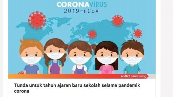 13 Juli Ajaran Baru, Watiek Ideo Ajak Tanda Tangani Petisi Tunda Masuk Sekolah Selama Pandemi Covid