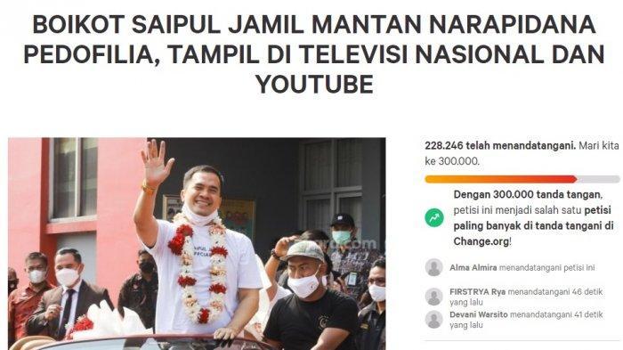 Petisi boikot Saipul Jamil tampil di TV dan Youtube capai target 200.000 tanda tangan. Kini target dinaikkan menjadi 300.000 tanda tangan