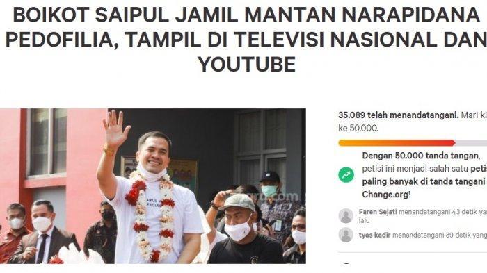 Muncul Petisi Boikot Saipul Jamil Tampil di Televisi dan Youtube, Menuju 50.000 Tanda Tangan