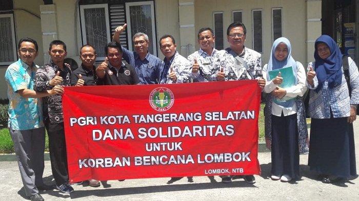 Dindikbud Tangsel dan PGRI Tangsel Berikan Bantuan untuk Korban Gempa Lombok