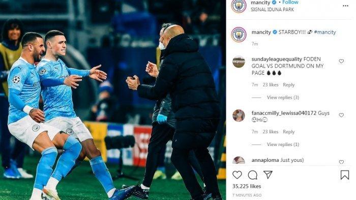 Phil Foden dan Riyad Mahrez rayakan dua gol penentuan ke gawang Borussia Dortmund sehingga skor berbalik untuk kemenangan Manchester City.