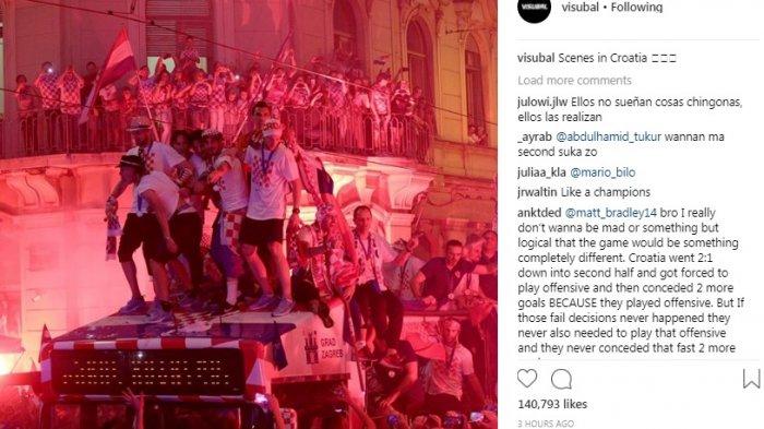 Kalah di Final Piala Dunia 2018, Kroasia Tetap Disambut Seperti Juara