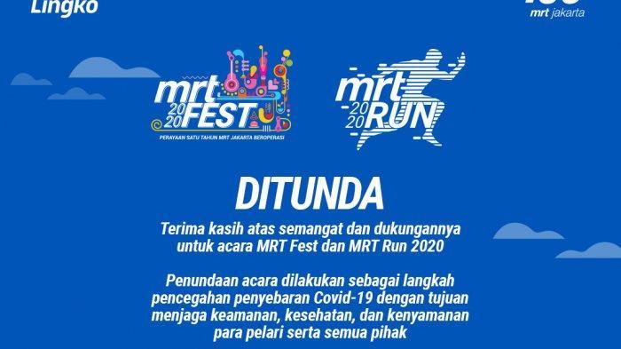 Cegah Penyebaran Corona, Penyelenggaraan MRT Fest dan MRT Run Dijadwalkan Ulang