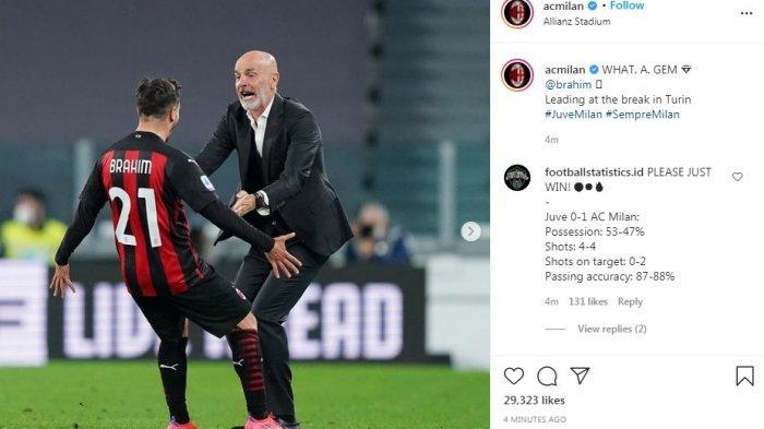 Hasil Babak Pertama Juventus vs AC Milan 0-1, Gol Indah Brahim Diaz Saat Masuki Injury Time