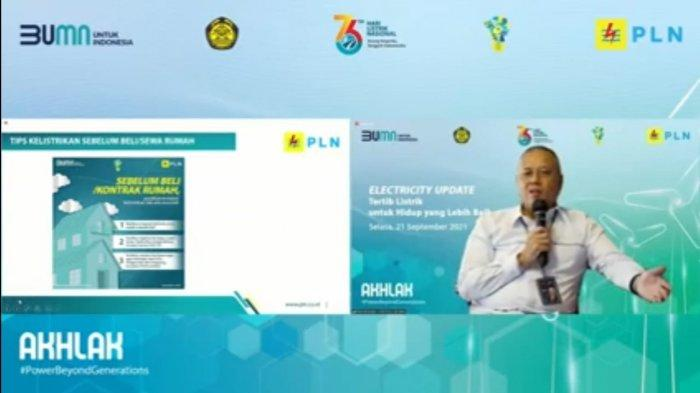 Doddy B. Pangaribuan, General Manager PLN Unit Induk Distribusi Jakarta Raya memberikan paparan dalam kegiatan sosialisasi tertib listrik kepada masyarakat, sebagai upaya memberikan pemahaman tentang keselamatan ketenagalistrikan, Kamis (21/9/2021).