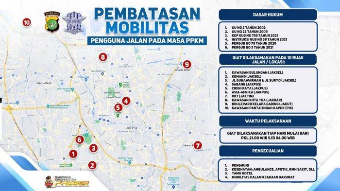 CATAT! Ini Daftar 10 Lokasi yang Ditutup Polda Metro untuk Pembatasan Mobilitas Mulai Malam Ini