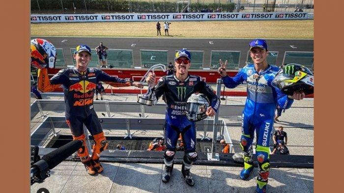 Tiga pembalap peraih podium MotoGP Emilia Romagna 2020, Maverick Vinales (tengah) juara.