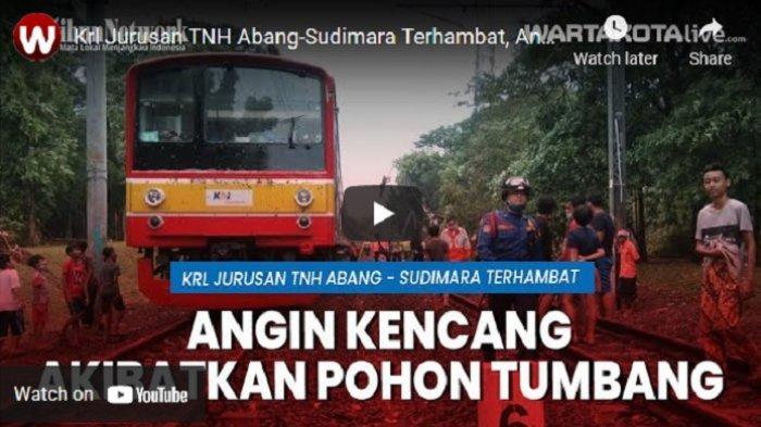 VIDEO Pohon Tumbang Timpa Kabel Listrik KRL, Kereta Jurusan TNH Abang-Sudimara Terhambat