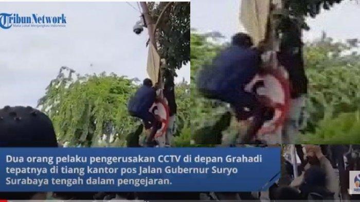 Polisi kini buru pelaku pengrusakan kamera CCTV saat demo UU Cipta Kerja di Surabaya.