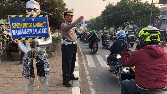 Polresta Depok Sosialisasi Pemotor Masuk Jalur Lambat Lantaran Kerap Terjadi Kecelakaan