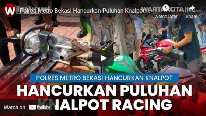 VIDEO Polres Metro Bekasi Hancurkan Puluhan Knalpot Racing Hasil Razia