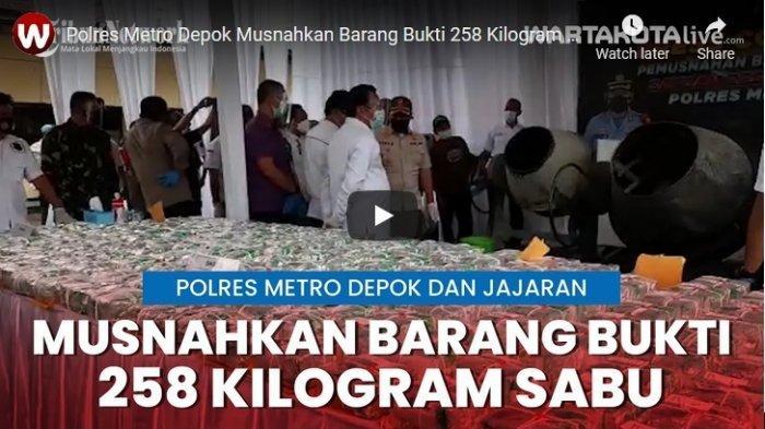 VIDEO Polres Metro Depok Musnahkan Barang Bukti 258 Kilogram Sabu Menggunakan Mesin Aduk Semen