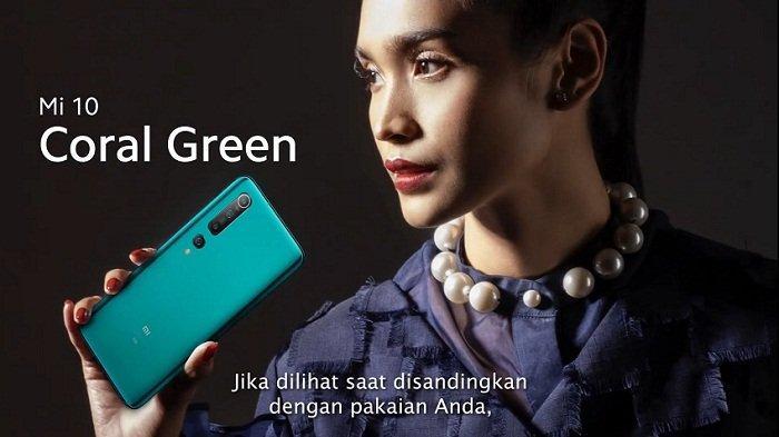 Ponsel flagship Xiaomi Mi 10 varian warna Coral Green