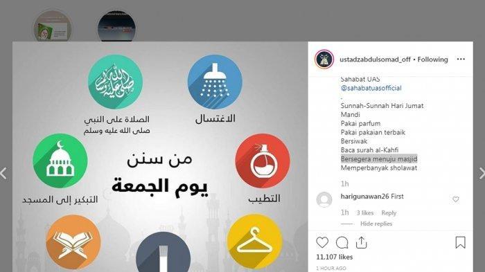 USTAZ Abdul Somad Posting Soal Sunah Hari Jumat Dikoreksi Pengikutnya, 8 Anjuran Nabi di Hari Jumat