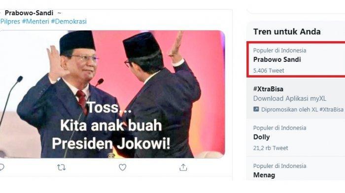 Prabowo-Sandi Trending Twitter, Netizen: Dulu Lawan Politik Jokowi, Sekarang Jadi Pembantu Jokowi
