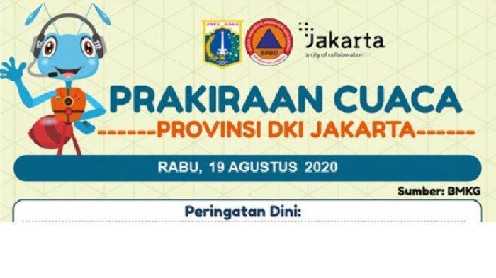 Info Prakiraan Cuaca DKI Jakarta Rabu 19 Agustus 2020, Berikut Penjelasan BPBD