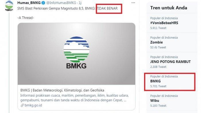 BMKG Pastikan Peringatan Dini Gempa 8,5 M Tak Benar, Netizen Sebut Serasa Kena Prank BMKG
