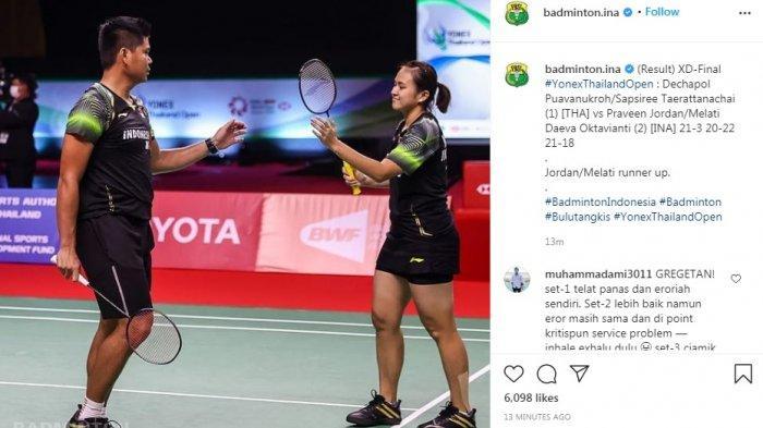 Praveen Jordan/Melati Daeva Oktavianti Gagal Juarai Thailand Open 2021 Melalui Perlawanan Gigih