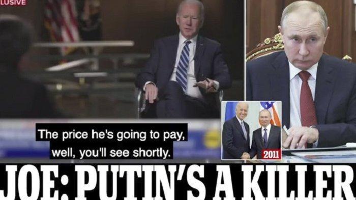 PRESIDEN AS Joe Biden Tuding Presiden Rusia Vladimir Putin Pembunuh Tak Berjiwa, Akan Terima Balasan