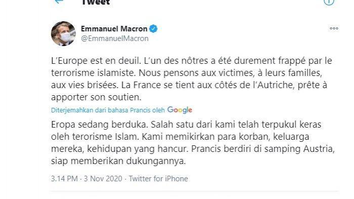 Presiden Prancis Emmanuel Macron kembali menuduh Islam di balik aksi teroris di Wina, Austria. Tuduhan itu disampaikan melalui cuitan di twitter.
