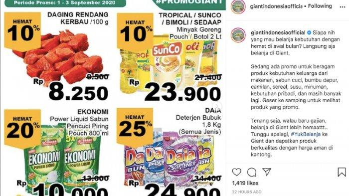 Promo Giant Rabu 2 September Diskon Hingga 30 Persen dari Minyak Goreng, Makanan Segar