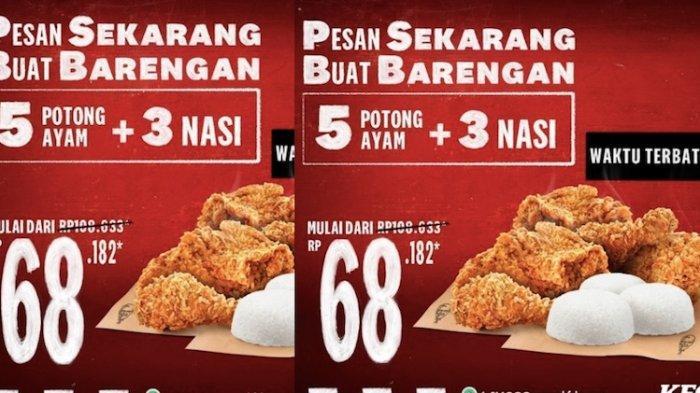 Promo KFC Hari Ini Paket Hemat 5 Ayam Goreng dan 3 Nasi Putih Cuma Rp 68.000-an