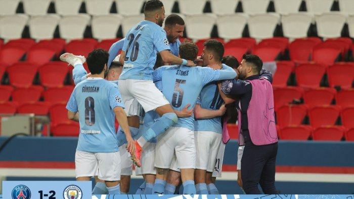 Hasil sementara babak kedua PSG vs Manchester City 1-2. Comeback dramatis dengan gol Kevin De Bruyne dan Riyadh Mahrez