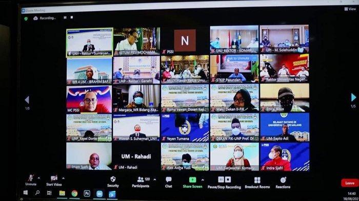 Acara MOU PSSI dan 7 perguruan tinggi yang membidangi olahraga berlangsung secara virtual untuk mengoptimalkan pendidikan kepelatihan serta sarana Sport Science yang dimiliki Perguruan Tinggi tersebut
