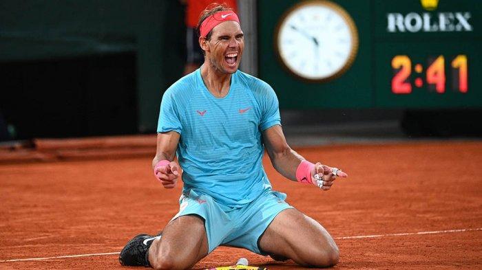 Ekspresi Rafael Nadal setelah memastikan meraih juara Prancis Terbuka 2020