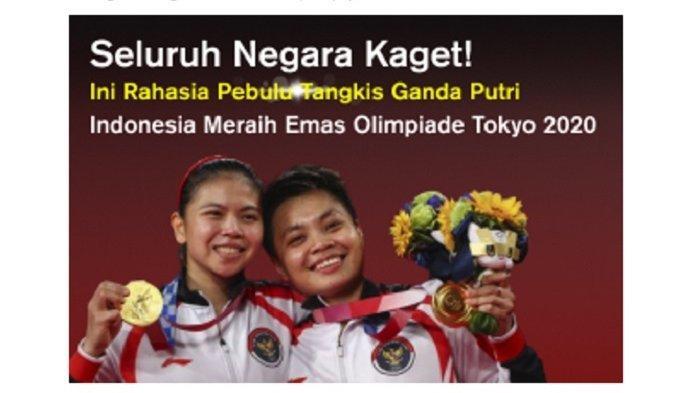 Ini Rahasia Pebulu Tangkis Ganda Putri Indonesia Raih Emas Olimpiade Tokyo 2020, Negara Lain Kaget