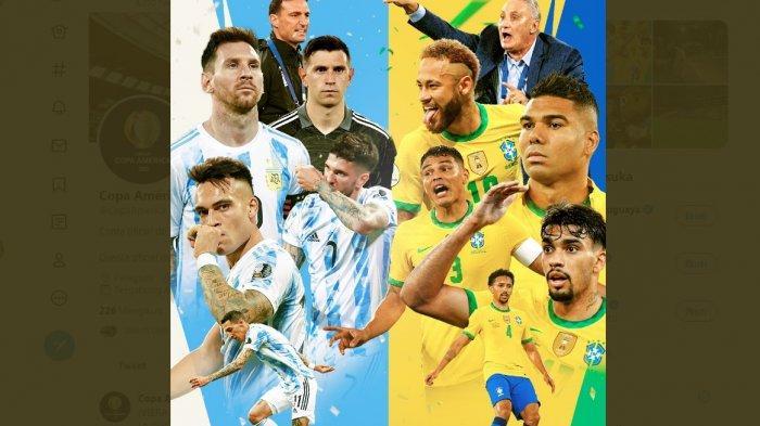 Duel klasik Argentina vs Brasil akan tersaji di babak final Copa America 2021, Minggu (11/7/2021) pukul 07.00 WIB. Kabar terakhir rakyat Brasil malah dukung Messi dkk juara, kabar itu membuat Neymar dkk meradang.