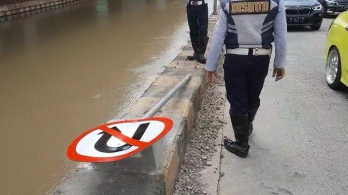 Pria Kekar Perusak Rambu Putar Arah di Kalimalang Resmi Dilaporkan Dishub Kota Bekasi  ke Polisi