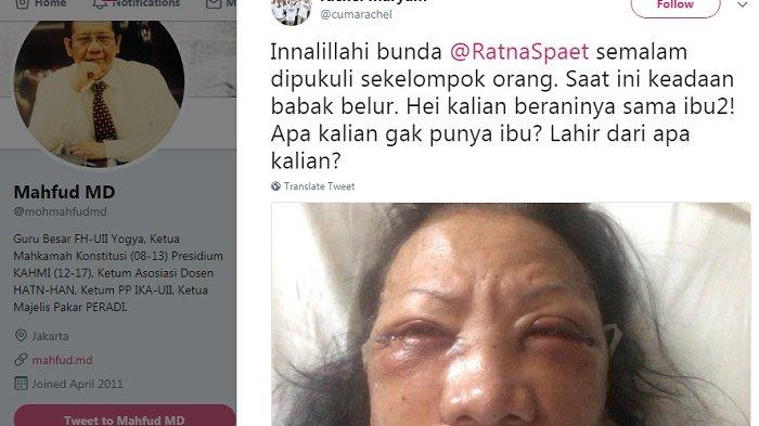 Aktivis #2019GantiPresiden Dianiaya, Mahfud MD Pasang Satus: Penganiaya Ratna Sarumpaet Terkutuk!