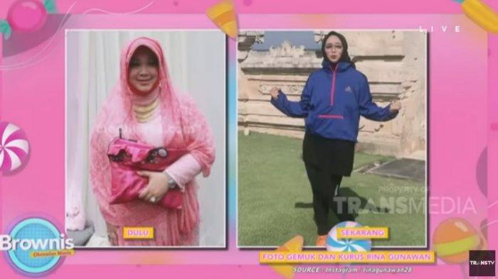 Rina Gunawan saat menunjukkan foto sukses menurunkan berat badan hingga 30 kg di acara Browinies di Trans TV 22 Januari 2021 lalu. Rina Gunawan kini dikabarkan meninggal dunia dalam usia 46 tahun.