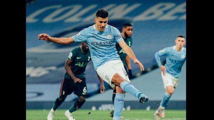 Hasil Babak Pertama Manchester City vs Tottenham 1-0, Gol Rodri Tendangan Kane Bentur Mistar