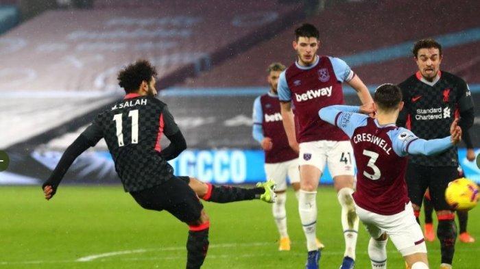 Kalahkan West Ham 3-1, Liverpool Naik 3 Besar Geser Leicester City, Mohamed Salah Topscorer 15 Gol