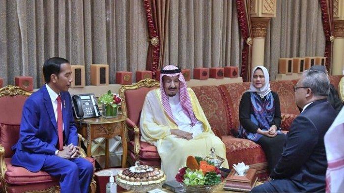 Presiden Jokowi dan Ibu Negara Iriana Dijamu Raja Salman di Istana Pribadi Raja di Riyadh
