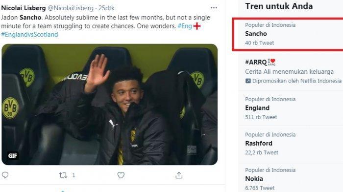 Sancho Trending Saat Timnas Inggris Memble Lawan Skotlandia, Netizen Bully Pelatih Gareth Southgate
