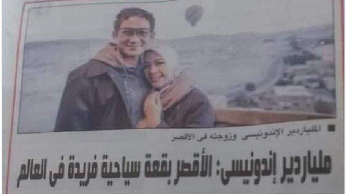 SANDIAGA Uno Jadi Berita Utama Koran Mesir, di Indonesia Disebut Calon Kuat Gantikan Edhy Prabowo