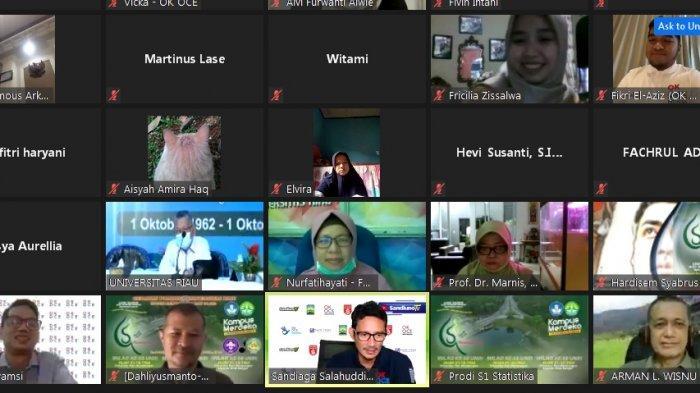 Sandiaga Uno dalam webinar MOU OK OCE Indonesia dengan Universitas Riau pada Kamis (1/1/2020).