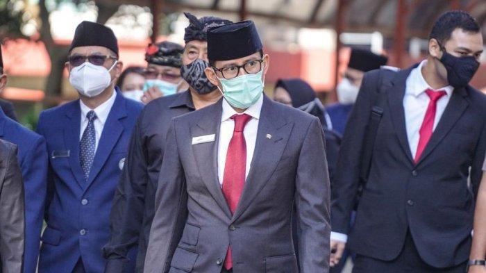 Menteri Pariwisata dan Ekonomi Kreatif Republik Indonesia Sandiaga Salahuddin Uno di Bandung, Jawa Barat, Senin (22/2/2021).
