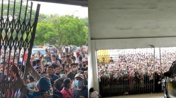 Vaksinasi Massal Polrestabes Medan, Ribuan Warga Berteriak dan Berdesakan hingga Pagar Jebol